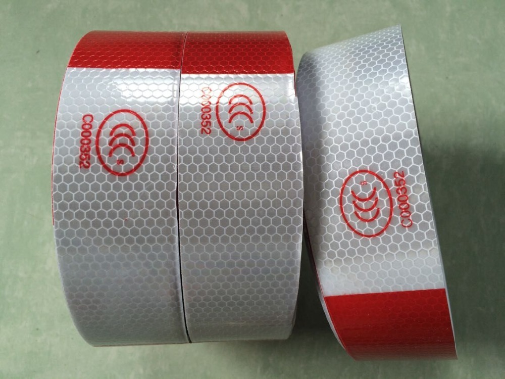 5cm*5M Self-adhesive Reflective Tape High Visibility White And Red Reflective Warning Tape For Van Car Traffic Sign 5cm 45 high visibility reflective tape white and red reflective warning tape directly paste for van car warning posted