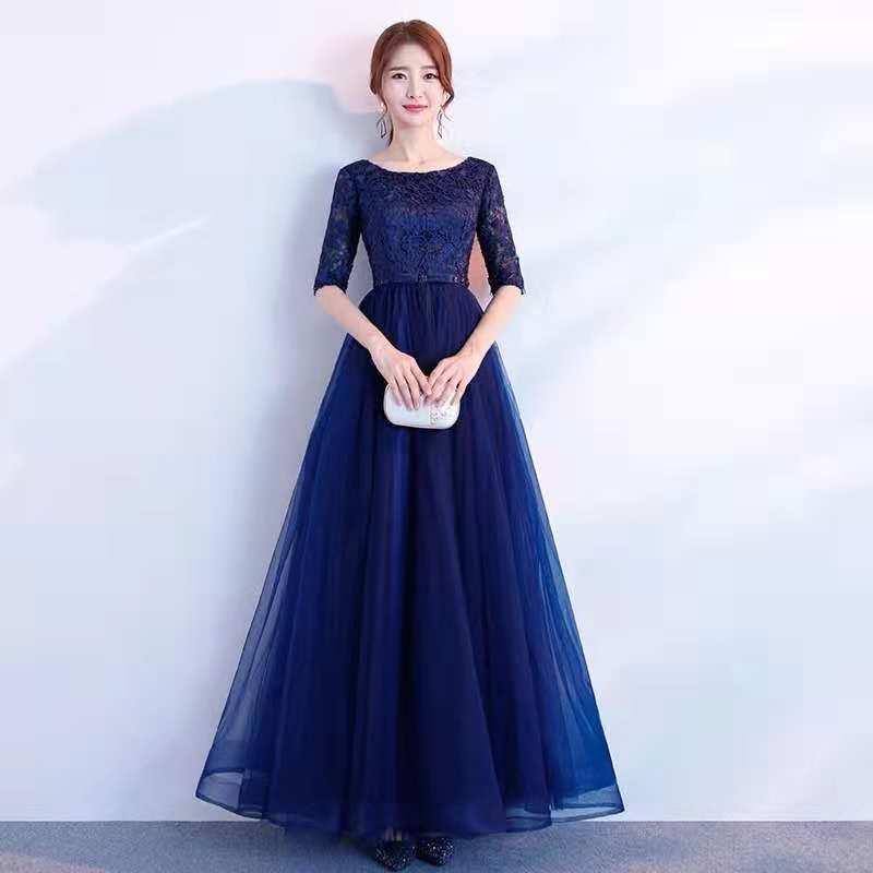 Vestidos De Feathers Half Sleeve Blue   Prom     Dresses   Vestido De Noite Elegant Cheap Long Beads Lace Appliques   Prom     Dress