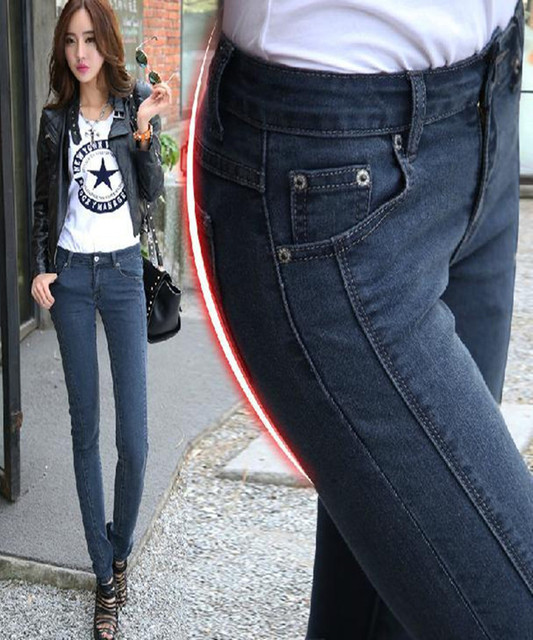 2016 spring  summer New explosion models Denim pants feet elastic panties fashion slim britches waist jeans ck personality