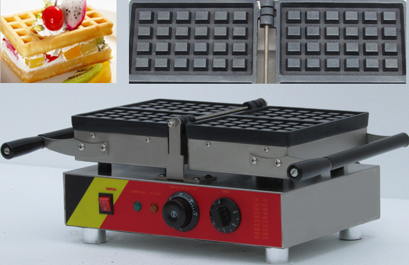 4pcs commecial electric  rectangle liege waffle maker machine with 180 degree design for easy clean free shipping electric with recipe for waffle machine can 180 rotating 4 pcs