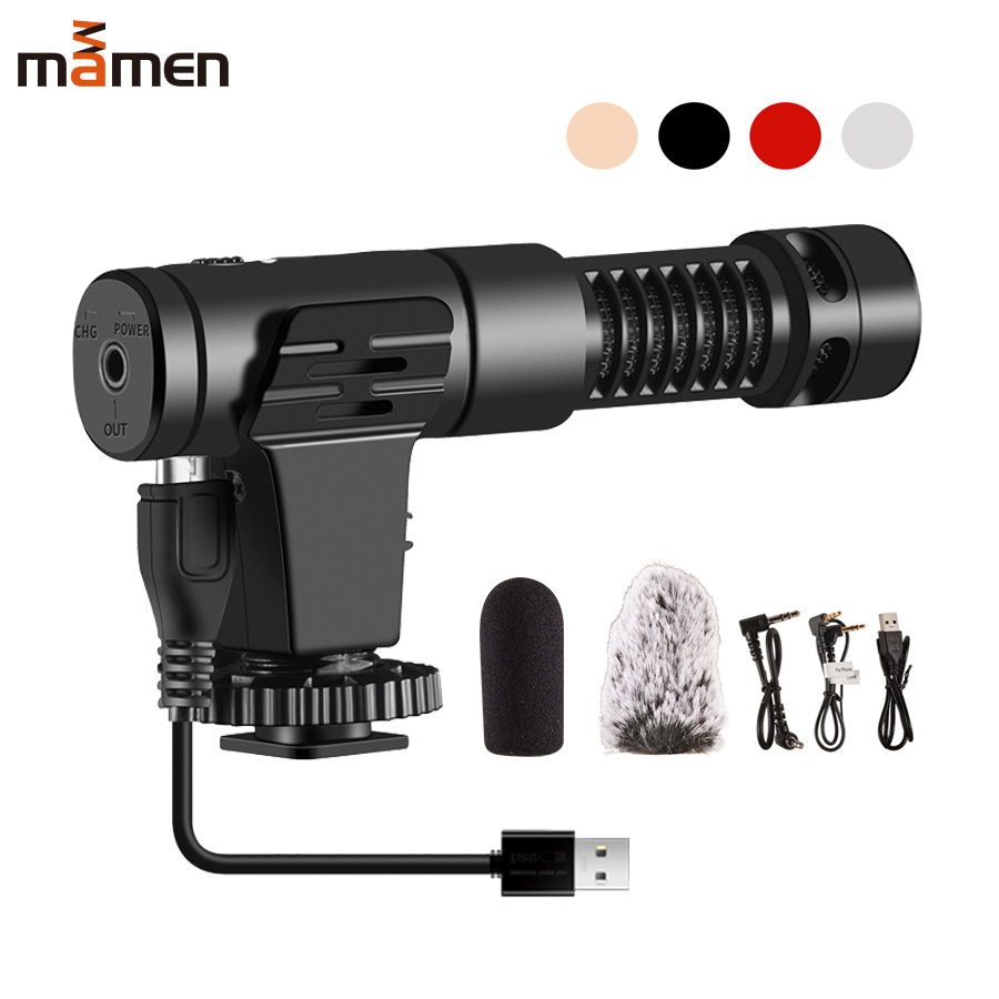 MAMEN MIC-07Pro Studio Microphone with 3.5mm Plug&USB Cable for Camera Phone DSLR MIC Interview Youtube Vlog Recording Microfono image