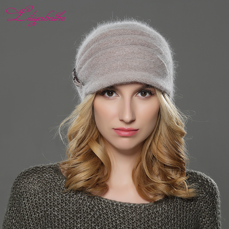 LILIYABAIHE JAUNA Stila sievietes Ziemas cepurīte brim cepure adīta vilna angora cepure Soolid vertikāla ziedu dekoratīva cepure Dubulta silta cepure