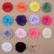 Yundfly 120pcs Chic Shabby Chiffon Flowers For Kids Hair Accessories 3D Frayed Fabric Flowers For Headbands