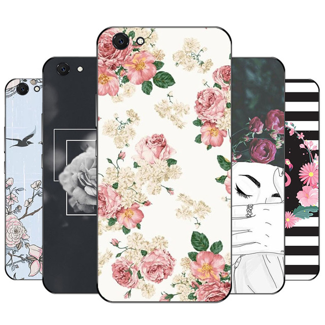 hot sale online 2b41e e346e US $2.59 |Funda For Vivo Y55 Case Flower Leaf Black Silicon Case Cover  Luxury Soft TPU Printed Back Cover For Vivo Y55A Phone Cases-in Fitted  Cases ...