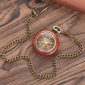 Image 5 - Vintage Red Wooden Case Mechanical Pocket Watch Chain Automatic Self wind Watches Fob Open Face Unisex Clock Gifts for Men Women