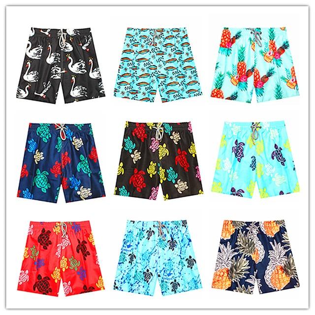 4d88e3f9c4c8f 2018 Brand Vile Men Beach Board Shorts Sexy Bermuda Swimsuit Swimwear Man  Swan Turtle Sardine Pineapple Elastic Band Swimtrunks