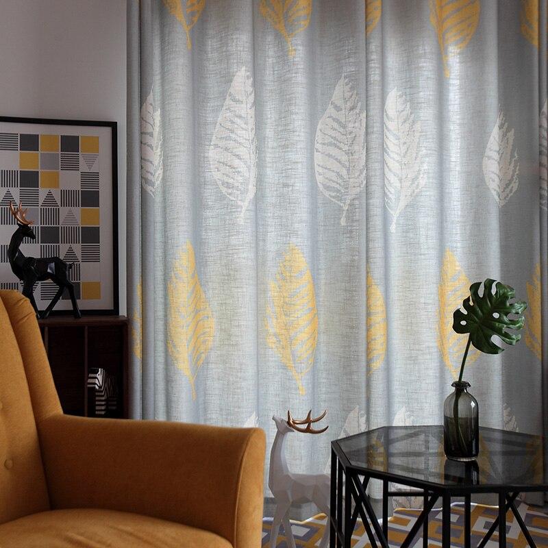 Fashion Stripe Rustic Curtain Yarn Bedroom Living Room: Custom Nordic Style Floor Semi Shade Curtain Fabric