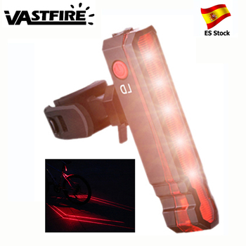 Luz trasera láser roja multifuncional para bicicleta, luz de advertencia de seguridad recargable por USB para asiento trasero, lámpara trasera LED para ciclismo