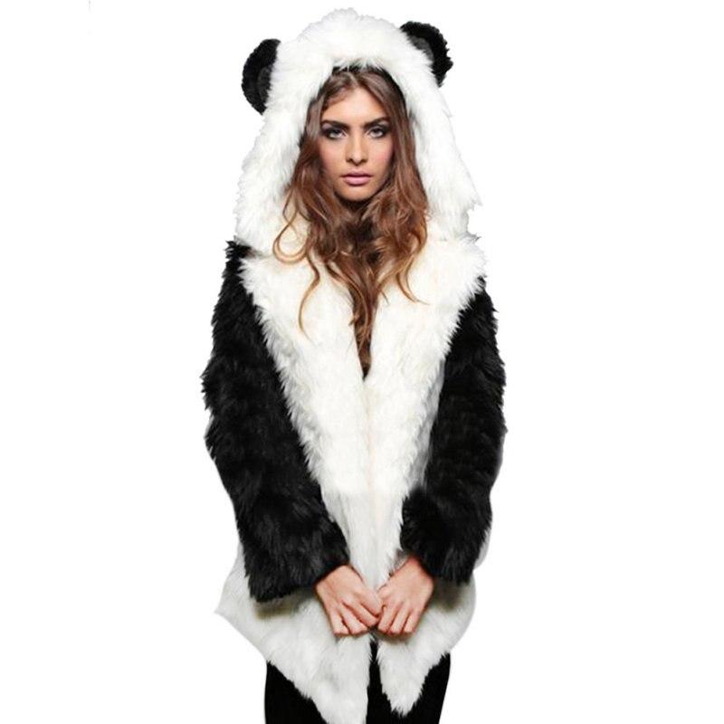Women Winter Coat Lady Elegant Solid Lovely Rabbit Fur Warm Slim Long Sleeve Faux Fur Jacket With Hooded Fur Coat in Faux Fur from Women 39 s Clothing