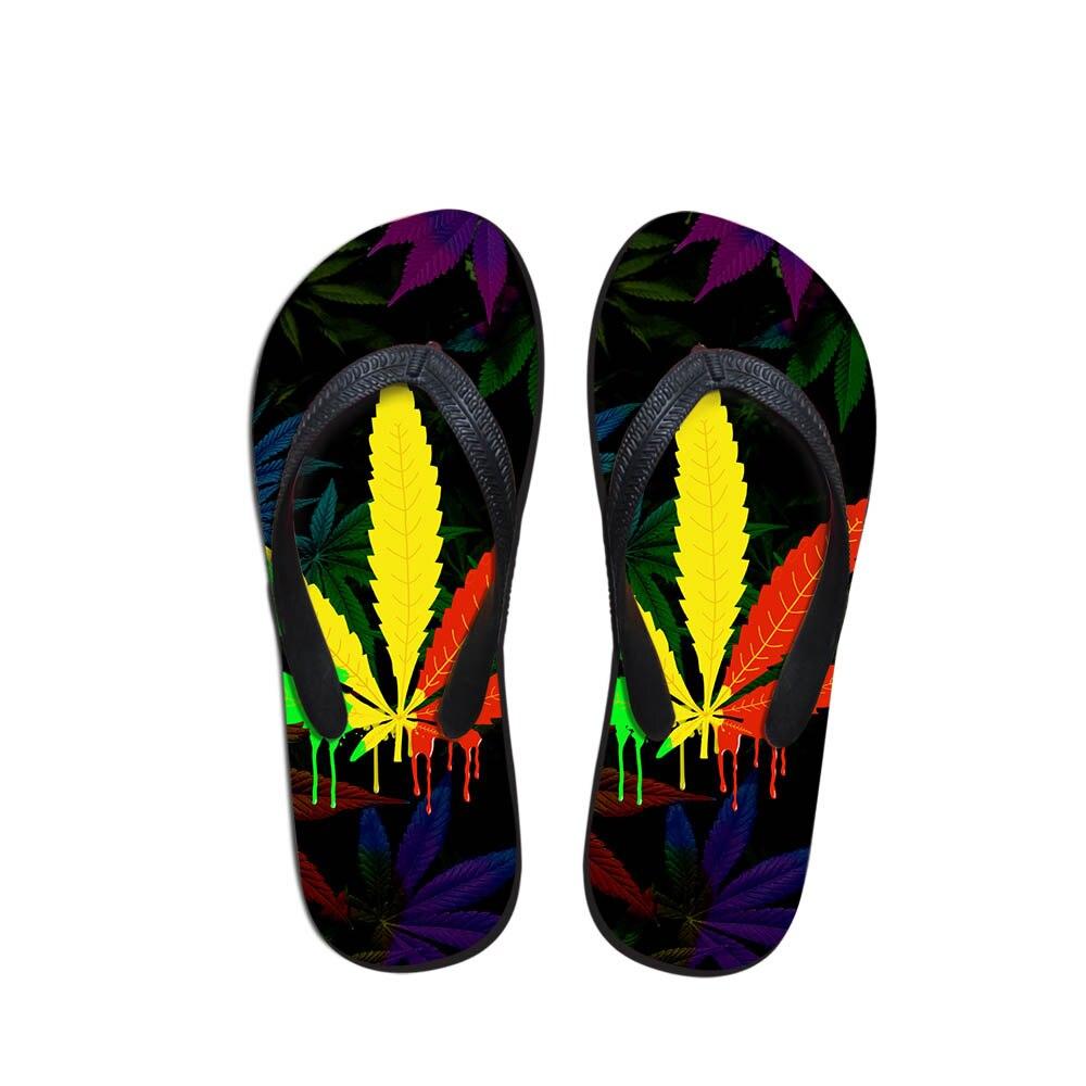 Men's Pool Shower Shoes Maple Leaf Print Men House Shoes Fashion Flip Flops For Men Simple Design Sandals Youth Boys