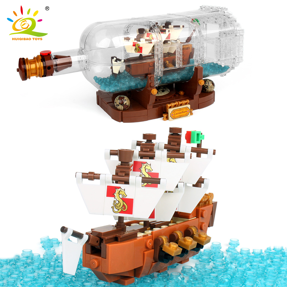 1080Pcs Minecrafted Onepiece Boat In The Bottle Building Blocks Compatible Legoed City Pirate Ship Interactive Toys For Children roxy halter onepiece j pss0