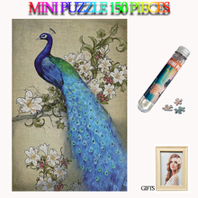 MOMEMO Peacock 150 Pieces Mini Jigsaw Puzzles Paper Adults Tube Puzzle Brain Teaser Assemble Toys Gift
