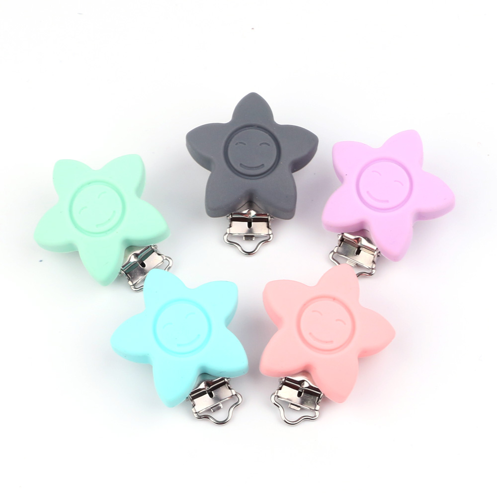 TYRY.HU 1pc star silicone nipple clip Stainless steel silicone Pacifier Clips Baby Teether Accessories Clips Silicone Baby clips