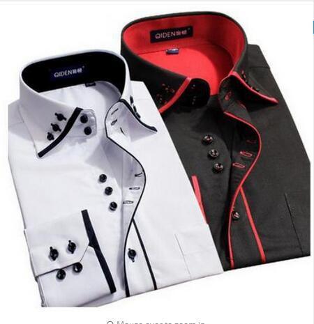 2016 качество с длинными рукавами плюс размер мужчины рубашку мужчины бизнес двойной воротник повседневная рубашка осень зима мужчины