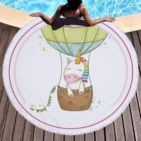 Microfibre Unicorn Round Beach Towel Thick Microfiber Bath Towels For Adults Terry Toalla Blanket Serviette de plage