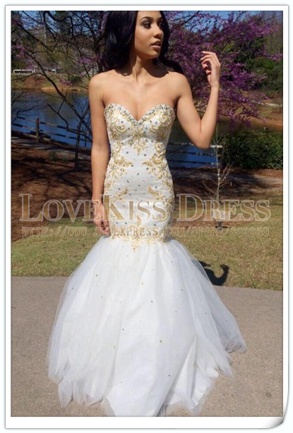2016 Mermaid Prom Dress Sweetheart Neck Shoulder Gold Beading Fashion Evening Gowns White Tulle Dresses - Love Kiss and Wedding Manufactory store