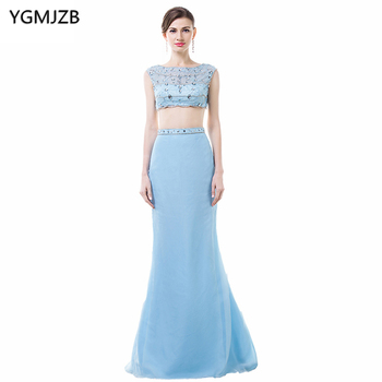 Long Blue Evening Dresses 2019 Mermaid Cap Sleeve Beaded Crystal Sexy See Through Evening Gown Two Piece Prom Dress Prom Gown