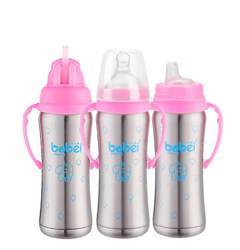 1 Bottle + 3 Nipple Baby Stainless Steel Insulation Bottle With handle Automatic Straw 3-in-1 Multifunction Baby Bottles 240ml