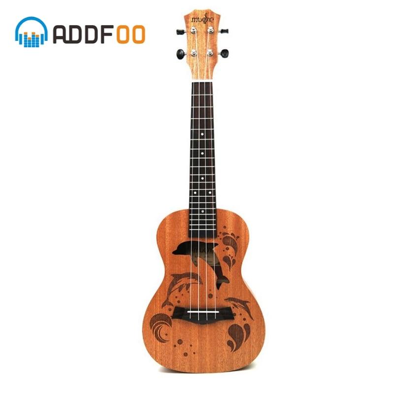 ADDFOO 21/23 pulgadas ukelele 4 cuerdas de Nylon Sapele Rosewood cuerpo con delfines patrón ukelele Universal guitarra acústica instrumento