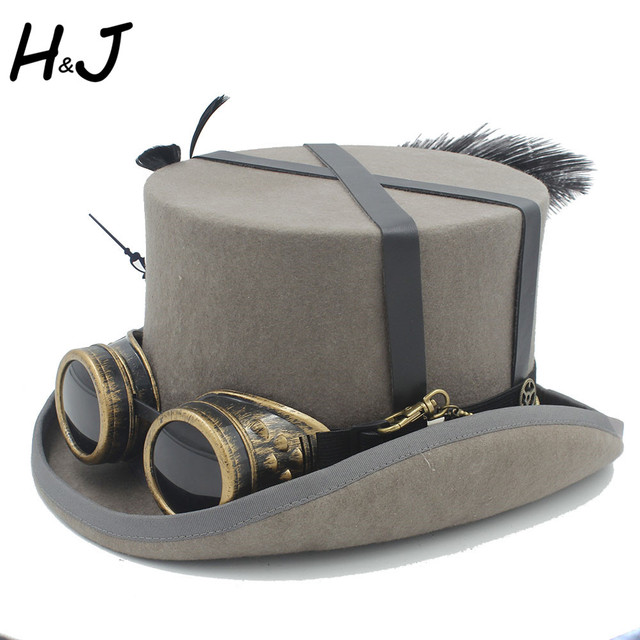 15CM 100% Wool Handworkl Steampunk Hat For Women Men Steam Punk Gear  Halloween Hat Millinery Top hats Goggles Party Caps 5d36f72c251c