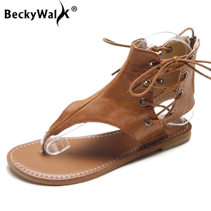 Diskret Beckywalk Mode Sommer Frauen Sandalen Flache Ferse Flip-flops Gladiator Sandalen Verband Frauen Roma Schuhe Plus Größe 35-43 Wsh2827 Neueste Technik