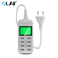 Quick 8U LED LCD smart Micro USB charger for iphone 8 7 samsung s8 xiaomi EU US UK plug Mobile Phone Charger+usb cable desktop