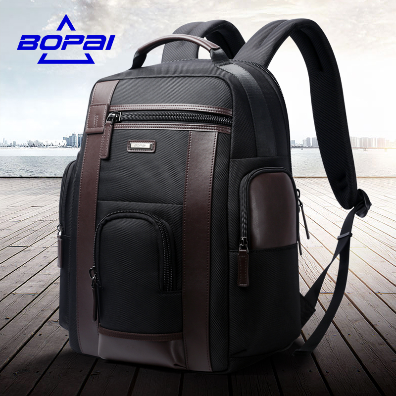 BOPAI New Medium Travel Backpacks Black for Men Waterproof 15.6 inch Computer Backpack Bags Strong Oxford Men Daily Use Mochilas