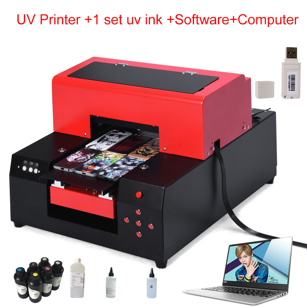 small size UV Printer A4 Size uv flatbed For Phone Case/T-Shirt/ Leather with computer with ink with software 2018 phone case uv printer a4 size uv printer led uv flatbed printer for phone case leather tpu with rip software with ink