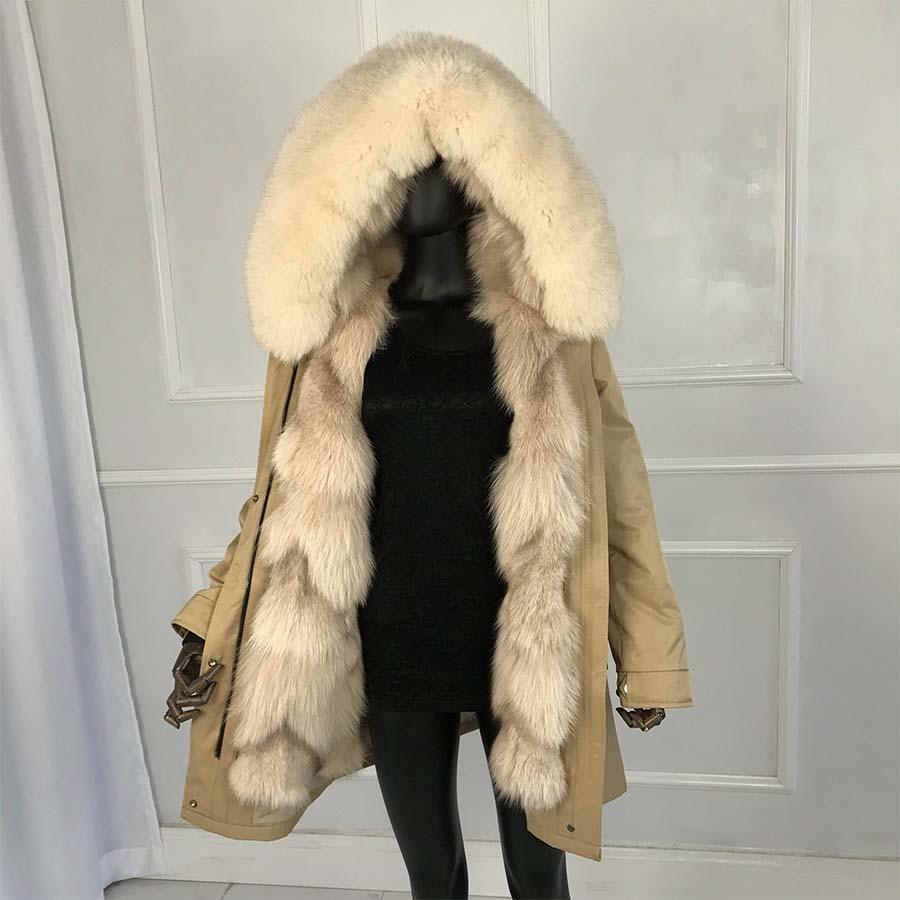 2019 Real Fox Sliver Fox Fur Long Parkas Fox Fur Large Big Collar  Fox Fur Liner Thick Warm Winter Fashion New Real Fur Coat