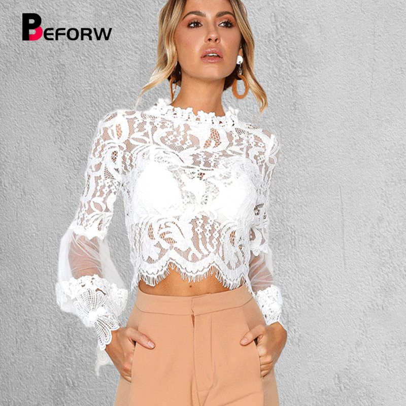 BEFORW 2018 Sexy Women Blouses Lace Perspective Stand Neck Long Sleeve Solid Blouse Women Clothing Fashion Slim Shirt Female Top