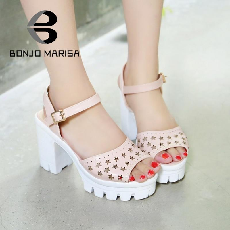 ФОТО High Thick Heels Women Summer Sandals Casual Cut-Outs Ladies Sandals With Buckle Plus Size 31-43 Peep Toe Platform Shoes Woman
