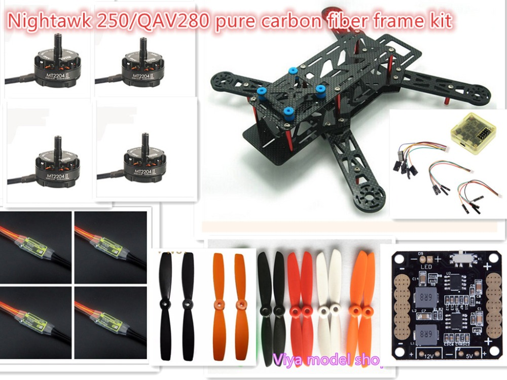 DIY mini FPV cross racing drones Nightawk 250/QAV280 pure carbon frame run with 4S kit CC3D + EMAX MT2204 II 2300KV diy mini drone fpv race nighthawk 250 qav280 quadcopter pure carbon frame kit naze32 10dof emax mt2206ii kv1900 run with 4s