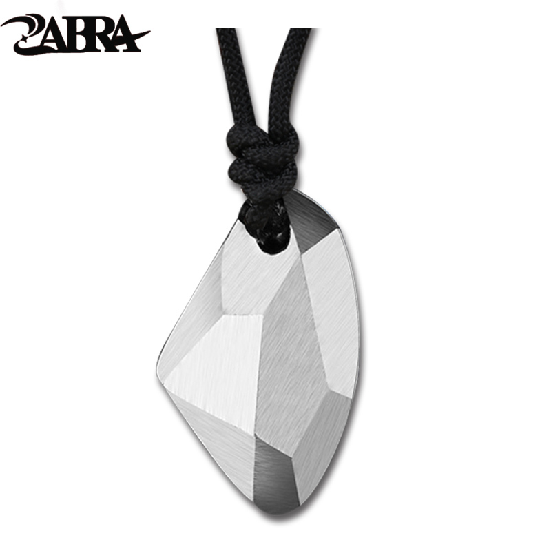 ZABRA Solid 925 Sterling Silver Geometric Pendant Men Wishing Stone Necklaces Pendants For Women Fashion Gift Birthday Jewelry