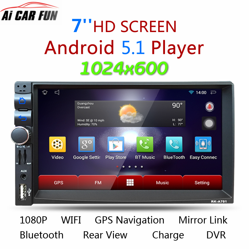 RK-A701 Android 5.1.1 2Din Car Media Player Bluetooth A2DP Touch Screen Wifi GPS Navi Stereo Audio 3G/FM/AM/USB/SD MP5 Player android 5 1 car radio double din stereo quad core gps navi wifi bluetooth rds sd usb subwoofer obd2 3g 4g apple play mirror link