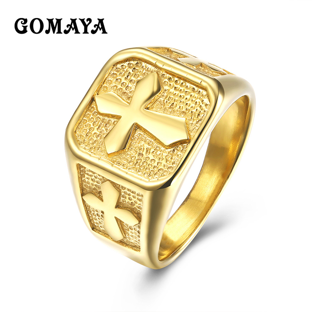 gomaya staunless steel cross ring simple style gold color. Black Bedroom Furniture Sets. Home Design Ideas