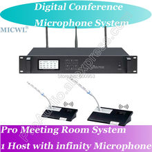 MICWL Pro Digital Discussing Wireless Conference Microphone System Host + President + Delegates Unit Mic for Large Meeting Room high end uhf 8x50 channel goose neck desk wireless conference microphones system for meeting room