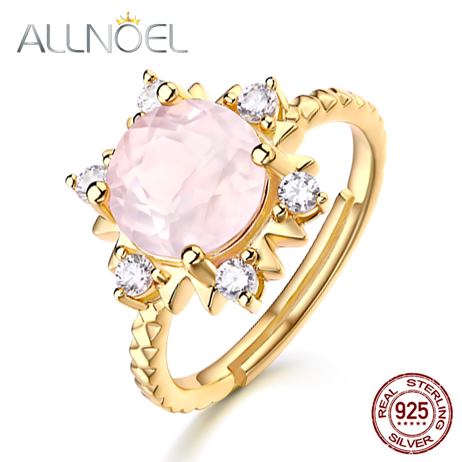 Allnoel 925 Sterling Silver Rose Quartz Ring For Ladies Engagement Anniversary Presents Jewellery S925 Solar Flower Gold Colour Rings New