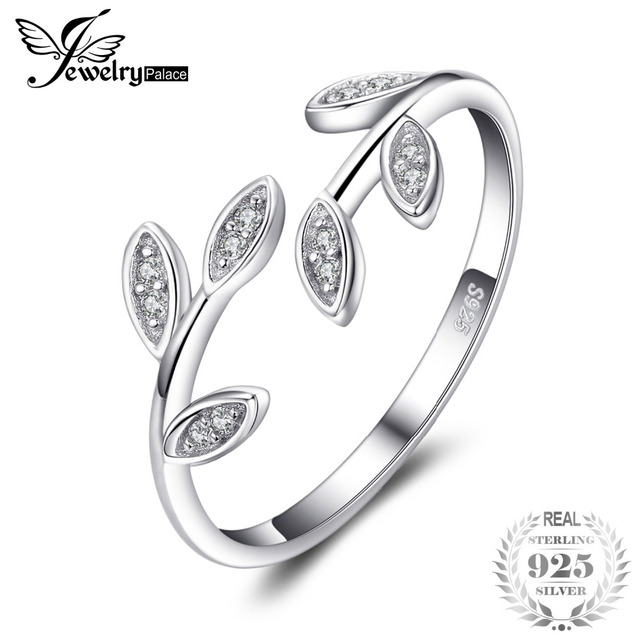 JewelryPalace Olive Leaf Cubic Zirconia Adjustable 925 Sterling Silver Open Ring
