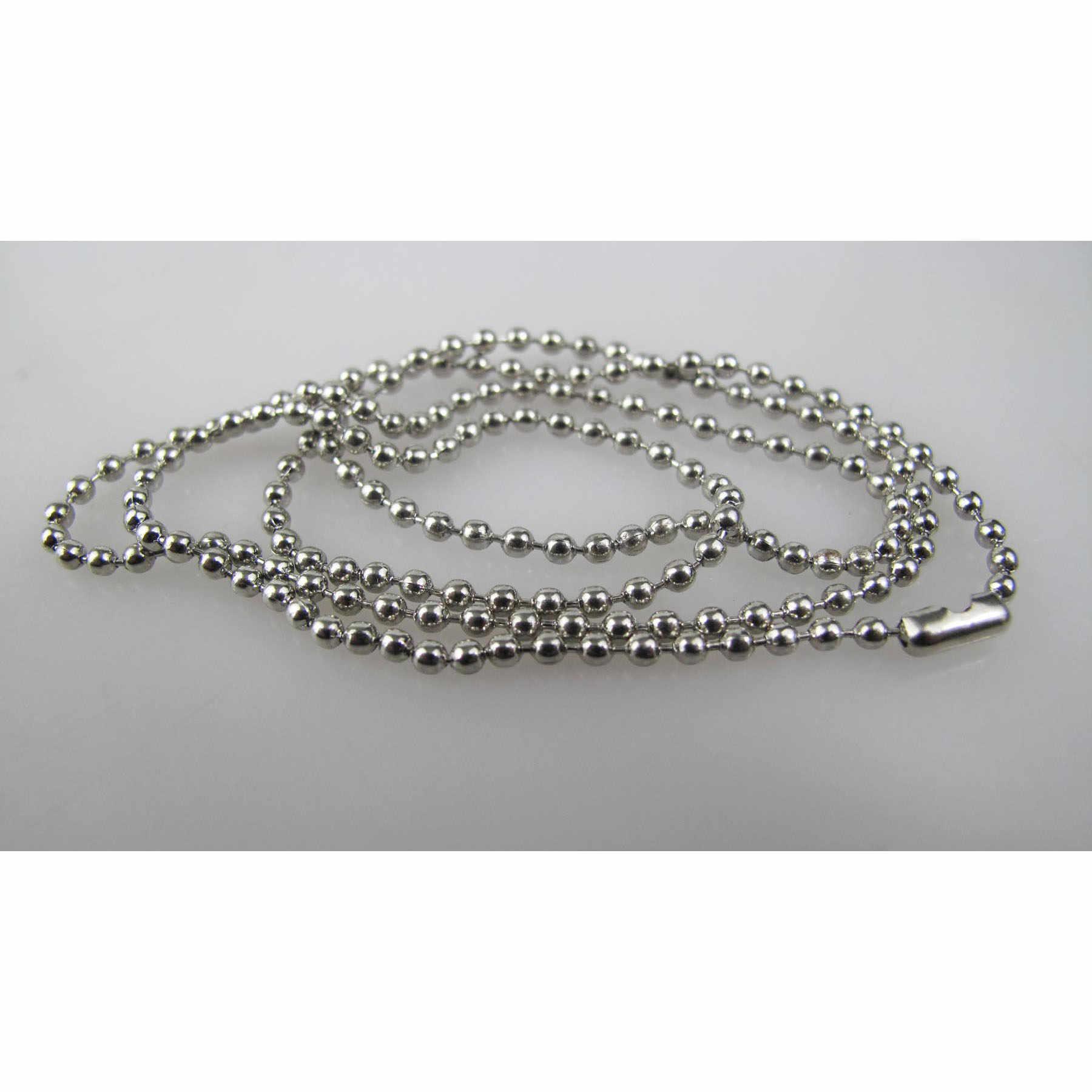 Diâmetro 2.4 milímetros comprimento 70 centímetros de prata banhado a cadeia de bola cadeia de esferas de aço para tag de cão