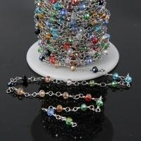 5Meter 3x4mm Mixed Crystal Glass Rosary Chain Ranibow Titanium Glass Faceted Rondelle Beads Plate Silver Wire