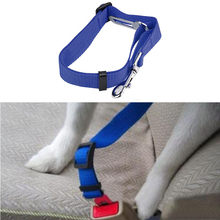 Dog Vehicle Car Seat Belt 2.4cm blue red white nylon fabric high quality Adjustable Seatbelt Harness Lead Clip Pet seat belt(China)