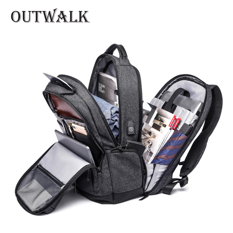 "OUTWALK Multifunction USB Charging Men 15"" Laptop Backpacks For Teenager Fashion Male Mochila Leisure Travel Anti theft Backpack"