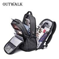 OUTWALK Multifunction USB Charging Men 15 Laptop Backpacks For Teenager Fashion Male Mochila Leisure Travel Anti theft Backpack