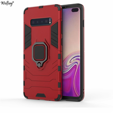 Wolfsay for Samsung Galaxy S10 Plus Case, S10+ Car Holder Armor Cases Hard PC & Soft Silicone Cover for Samsung Galaxy S10 Plus