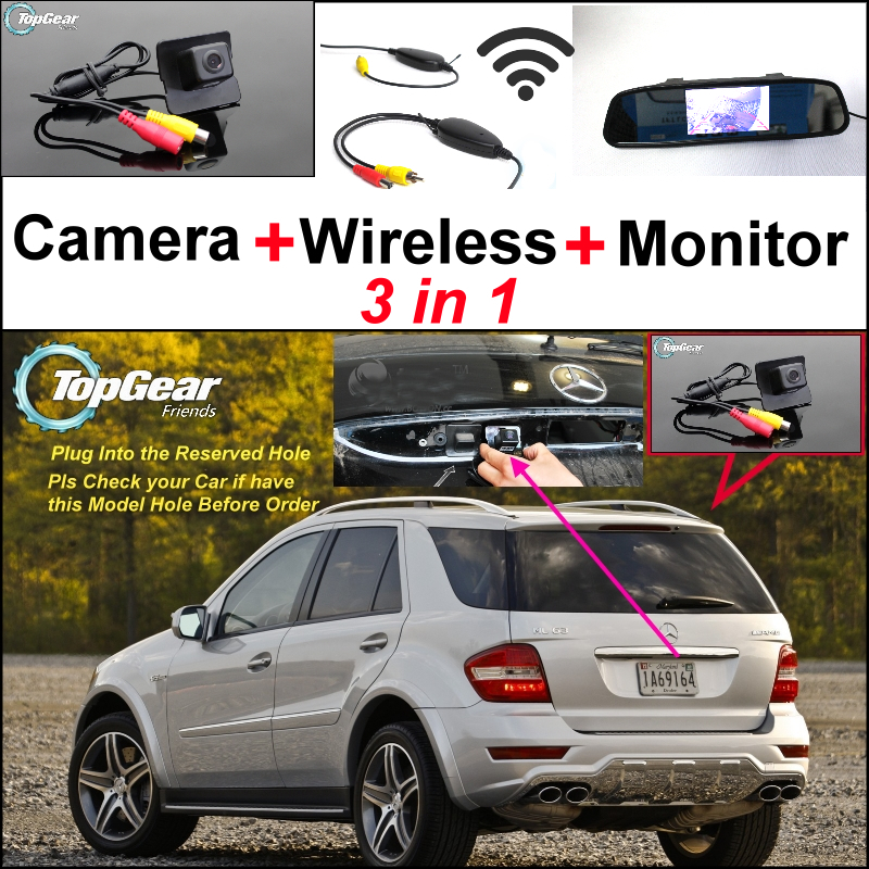 For Mercedes Benz ML MB W164 ML350 ML330 AMG ML450 ML500 3in1 Car Camera + Wireless + Mirror Monitor Parking Rear View System 3 in1 special rear view camera wireless receiver mirror monitor back up parking system for citroen ds3 ds 3 2009 2015
