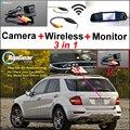 Para Mercedes Benz ML MB W164 ML350 ML330 AMG ML450 ML500 3in1 Car Camera + Wireless + Estacionamento Monitor Espelho Retrovisor sistema