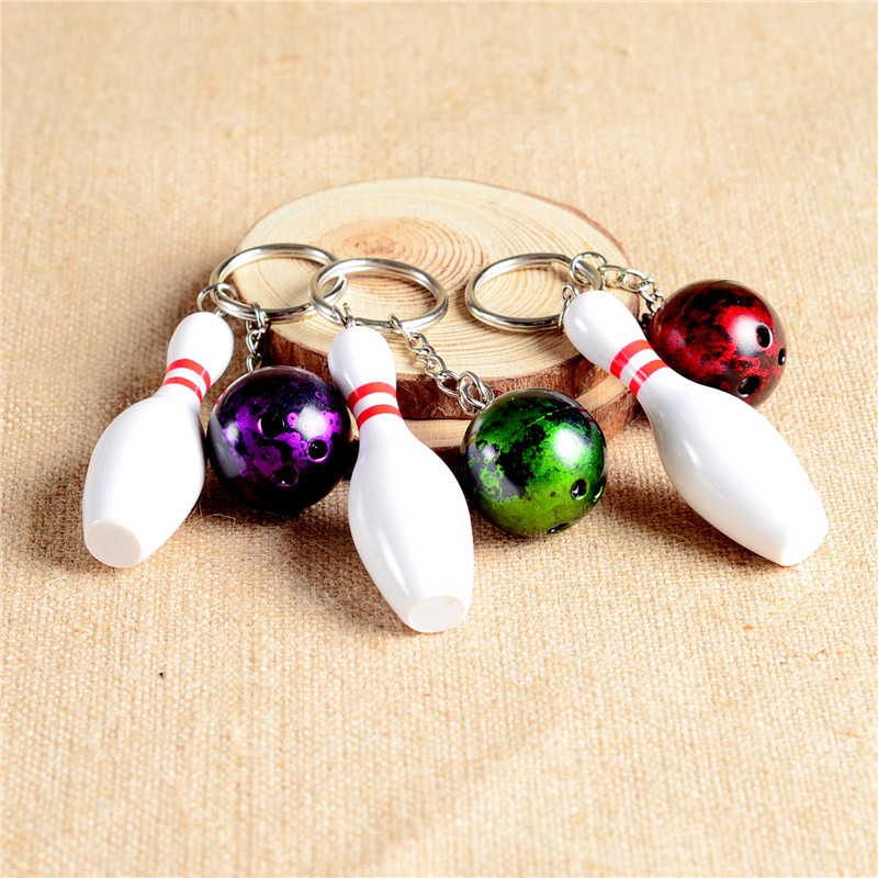 1 pc Cute Bowling Key Chain for Lovers Sports Ball Key Holder 10cm Keychains on Bag Best Birthday Gifts DIY Key Rings for Keys