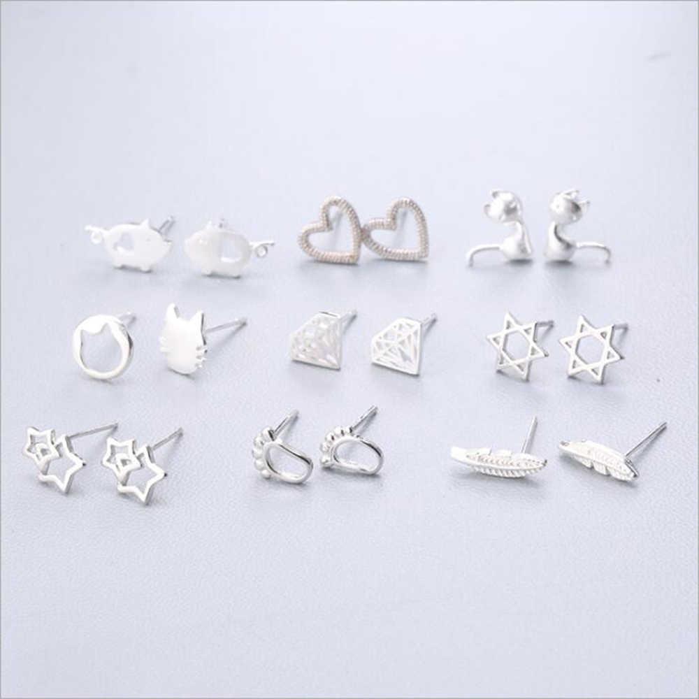 XIYANIKE 925 スターリングシルバー耳針シンプルなファッションジオメトリスタッドピアスパーソナリティ洗練イヤリング女性のギフトのため 1-18