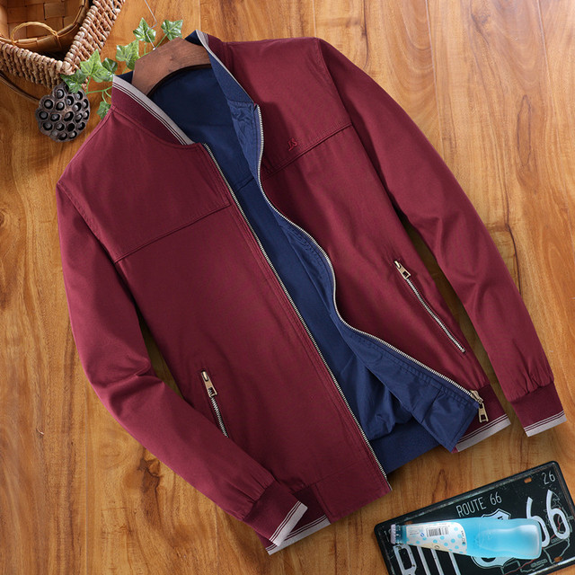 Men's jacket Spring and Autumn quarter collar pure cotton jacket Dad wearing two sides of casual men's thin jacket MC24