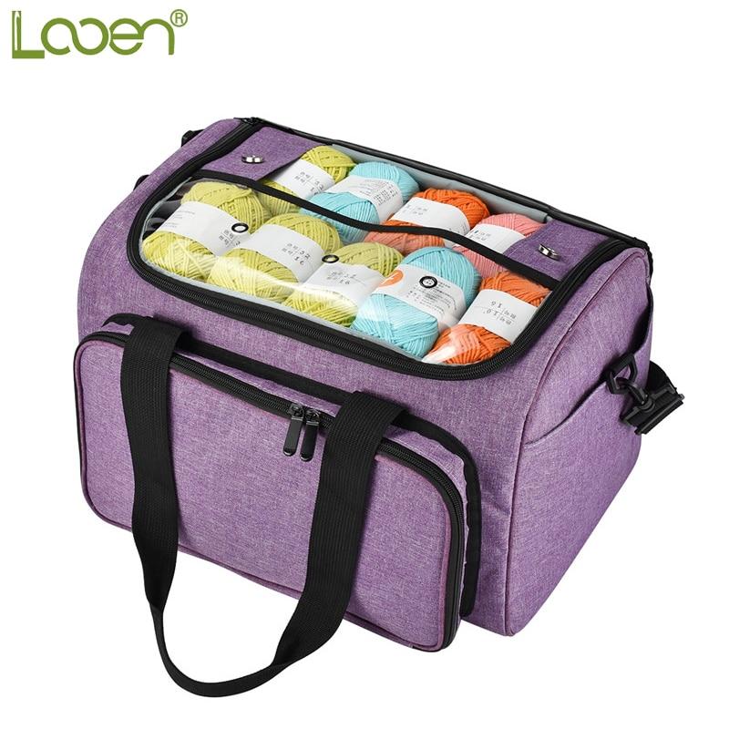 Looen Empty Yarn Storage Bag Handbag Organizer For All Crochet Knitting Accessory